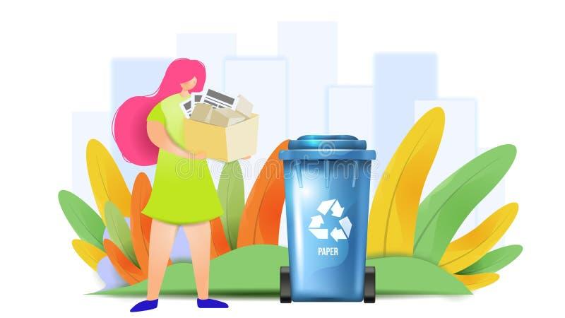 Ταξινομώντας έννοια σχεδίου αποβλήτων εγγράφου Η γυναίκα βάζει τα απόβλητα σε ένα εμπορευματοκιβώτιο r απεικόνιση αποθεμάτων
