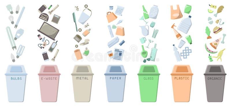 Ταξινομώντας εικονίδια αποβλήτων που τίθενται με τα σκουπιδοτενεκή και τα απορρίμματα απεικόνιση αποθεμάτων