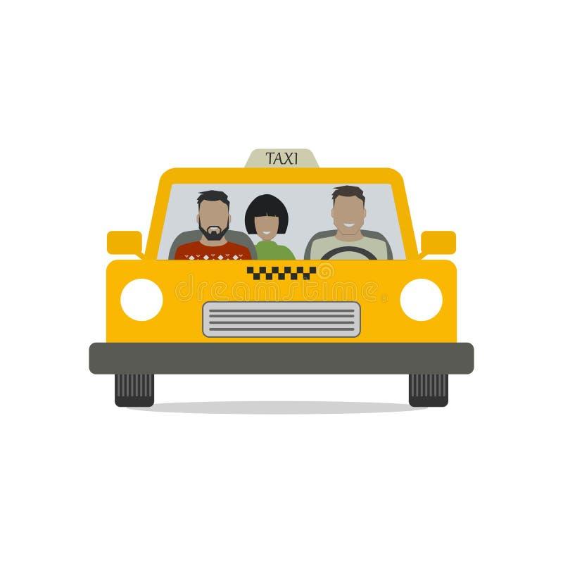 Ταξιτζής με τους επιβάτες σε ένα κίτρινο αυτοκίνητο ελεύθερη απεικόνιση δικαιώματος