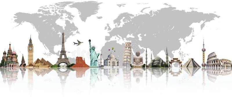 Ταξιδεψτε την έννοια παγκόσμιων μνημείων ελεύθερη απεικόνιση δικαιώματος