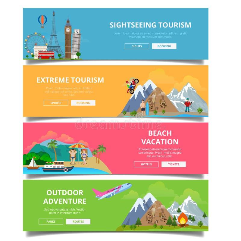 Ταξιδιού τουρισμού τύπων διανυσματικό σύνολο ύφους εμβλημάτων επίπεδο στοκ εικόνες