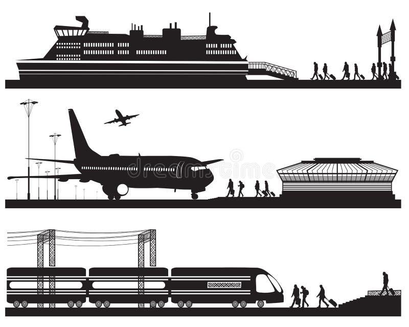 Ταξιδιώτες στο τερματικό, το σταθμό τρένου και την αποβάθρα αερολιμένων με τα cruis διανυσματική απεικόνιση
