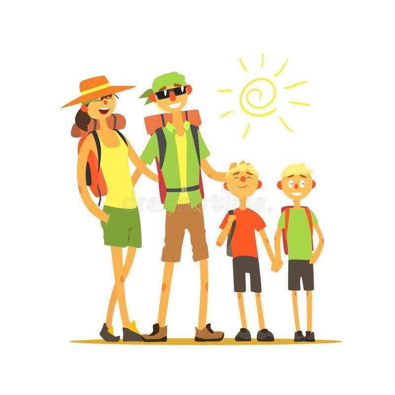 Ταξιδιώτες τετραμελών οικογενειών ελεύθερη απεικόνιση δικαιώματος