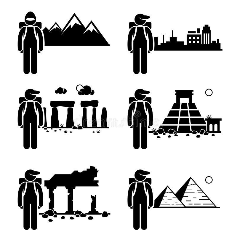 Ταξιδιώτης Backpacker τυχοδιωκτών εξερευνητών διανυσματική απεικόνιση