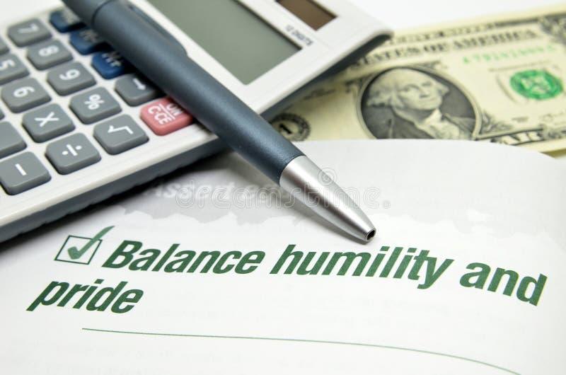 Ταπεινότητα και υπερηφάνεια ισορροπίας στοκ φωτογραφία
