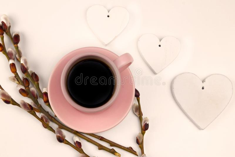 Ταπετσαρία άνοιξη coffe με τη διακόσμηση στοκ φωτογραφίες