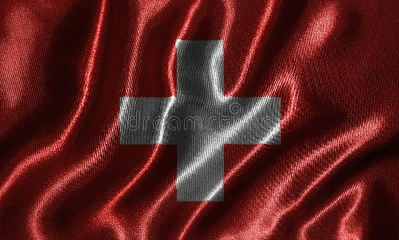 Ταπετσαρία από τη σημαία της Ελβετίας και την κυματίζοντας σημαία από το ύφασμα στοκ εικόνα με δικαίωμα ελεύθερης χρήσης