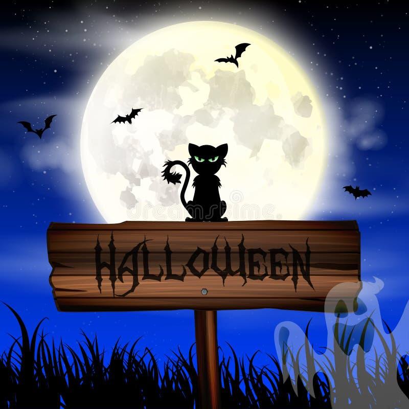 Ταπετσαρία νύχτας αποκριών με τη γάτα και τη πανσέληνο στοκ εικόνες με δικαίωμα ελεύθερης χρήσης