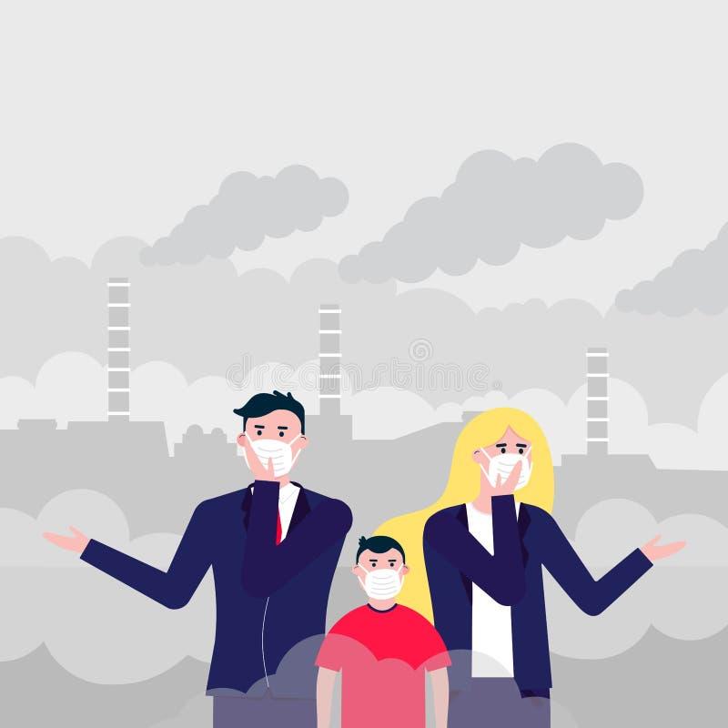Ταραγμένος άνδρας, γυναίκα, μάσκες παιδιών ενάντια στην αιθαλομίχλη ελεύθερη απεικόνιση δικαιώματος