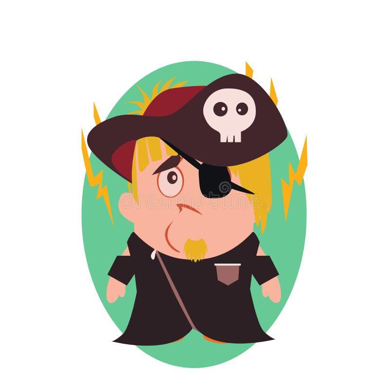 Ταραγμένος, λυπημένος και δυστυχισμένος πειρατής - αστείο είδωλο λίγου χαρακτήρα κινουμένων σχεδίων προσώπων στο επίπεδο διάνυσμα απεικόνιση αποθεμάτων