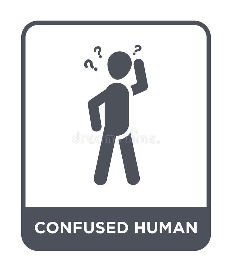 ταραγμένο ανθρώπινο εικονίδιο στο καθιερώνον τη μόδα ύφος σχεδίου ταραγμένο ανθρώπινο εικονίδιο που απομονώνεται στο άσπρο υπόβαθ ελεύθερη απεικόνιση δικαιώματος