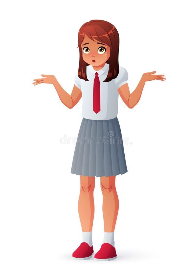 Ταραγμένο κορίτσι στη σχολική στολή που απαξιεί τους ώμους Απομονωμένη διανυσματική απεικόνιση απεικόνιση αποθεμάτων