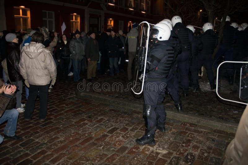 ταραχές αστυνομίας στοκ φωτογραφία