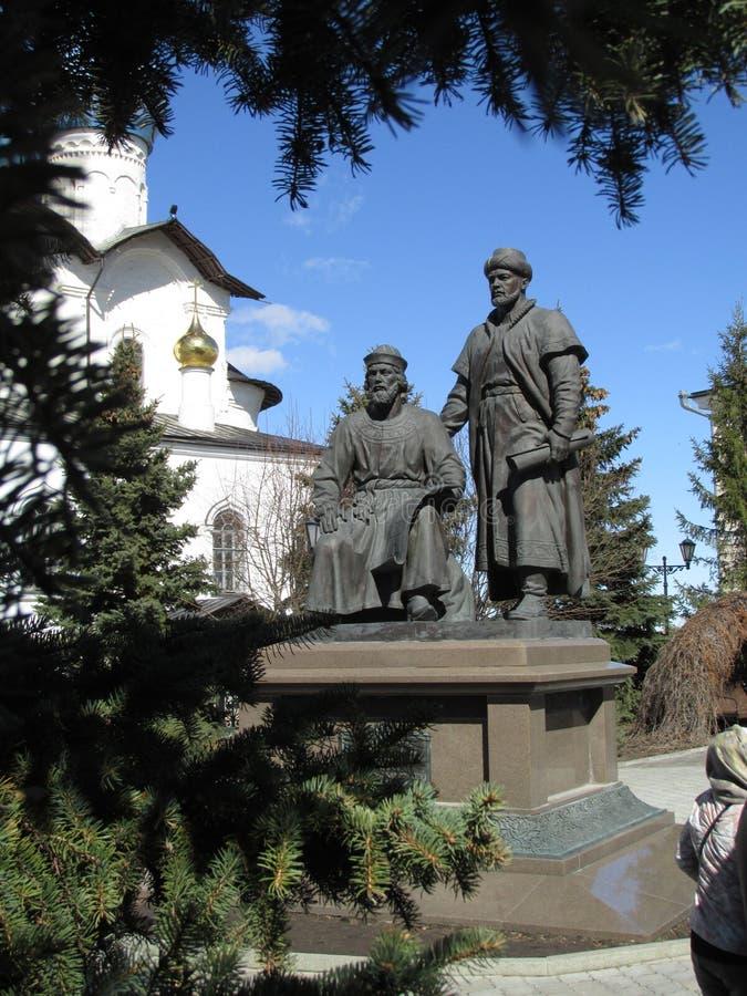 Ταταρία KAZAN ΚΡΕΜΛΙΝΟ Μνημείο στους αρχιτέκτονες Kazan Κρεμλίνο 2 στοκ εικόνες
