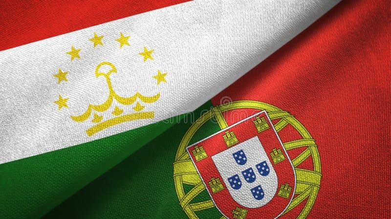 Τατζικιστάν και Πορτογαλία δύο υφαντικό ύφασμα σημαιών, σύσταση υφάσματος απεικόνιση αποθεμάτων