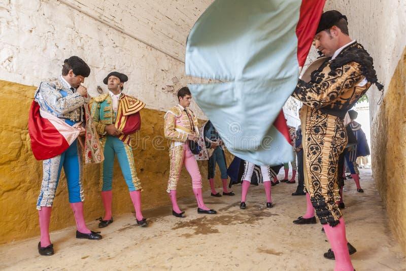 Ταυρομάχος στο paseillo ή την αρχική ταυρομαχία παρελάσεων σε Anduj στοκ φωτογραφίες