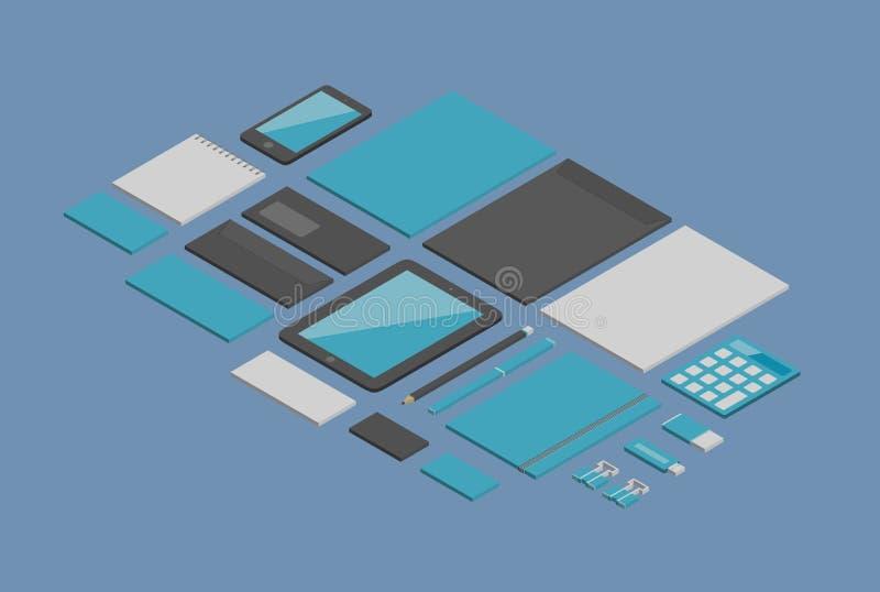 Ταυτότητα μαρκαρίσματος isometric διανυσματικά αντικείμενα διανυσματική απεικόνιση