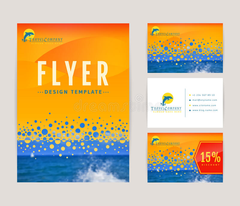 Ταυτότητα που τίθεται εταιρική για την ταξιδιωτική εταιρεία διανυσματική απεικόνιση