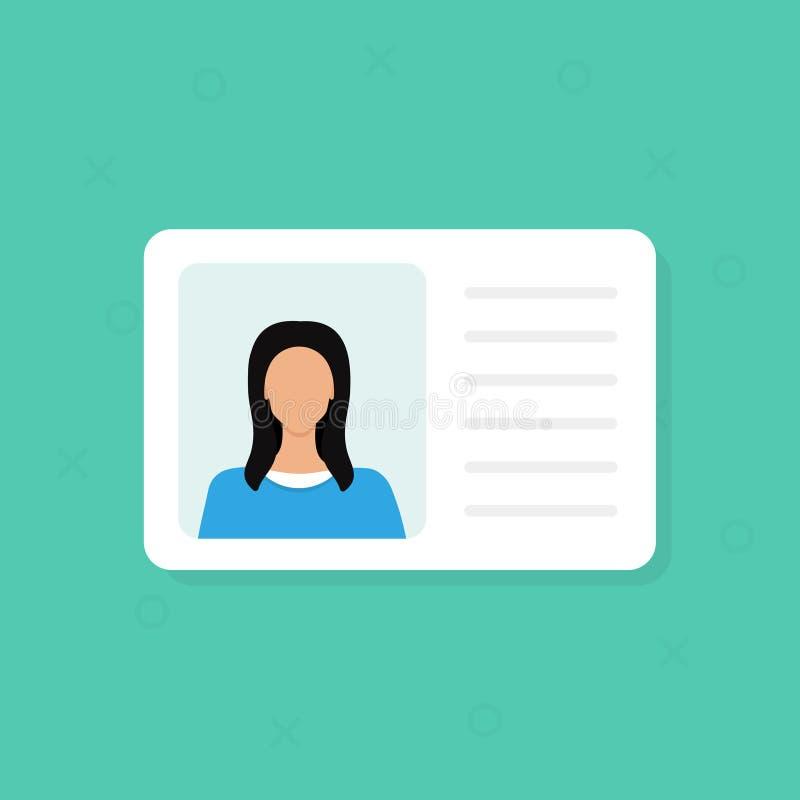 Ταυτότητα Στοιχεία προσωπικής πληροφορίας Έγγραφο ταυτότητας με τη φωτογραφία και το κείμενο προσώπων clipart Επίπεδο σχέδιο, διά διανυσματική απεικόνιση