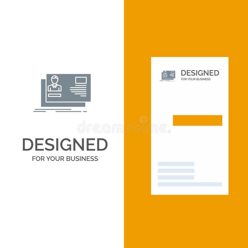 Ταυτότητα, χρήστης, ταυτότητα, κάρτα, γκρίζο σχέδιο λογότυπων πρόσκλησης και πρότυπο επαγγελματικών καρτών διανυσματική απεικόνιση