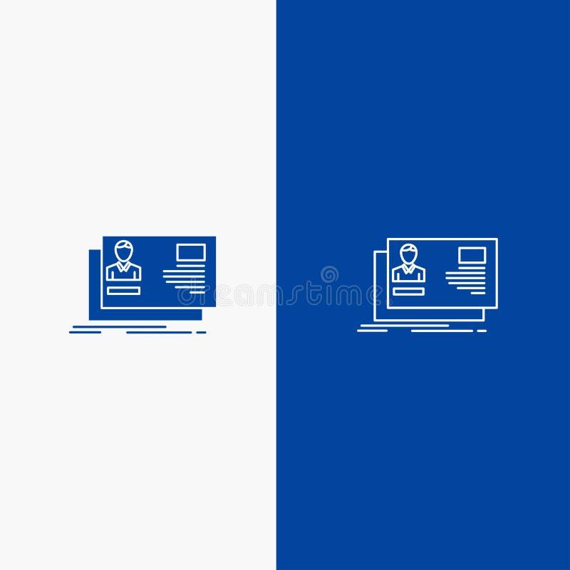 Ταυτότητα, χρήστης, ταυτότητα, κάρτα, γραμμή πρόσκλησης και στερεά γραμμή εμβλημάτων εικονιδίων Glyph μπλε και στερεό μπλε έμβλημ ελεύθερη απεικόνιση δικαιώματος
