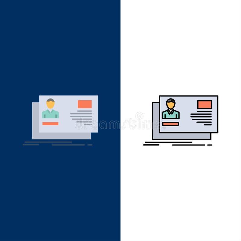 Ταυτότητα, χρήστης, ταυτότητα, κάρτα, εικονίδια πρόσκλησης Επίπεδος και γραμμή γέμισε το καθορισμένο διανυσματικό μπλε υπόβαθρο ε απεικόνιση αποθεμάτων
