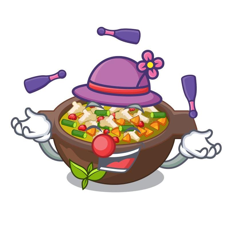 Ταχυδακτυλουργία του πιάτου minestrone επάνω από τον πίνακα μασκότ ελεύθερη απεικόνιση δικαιώματος