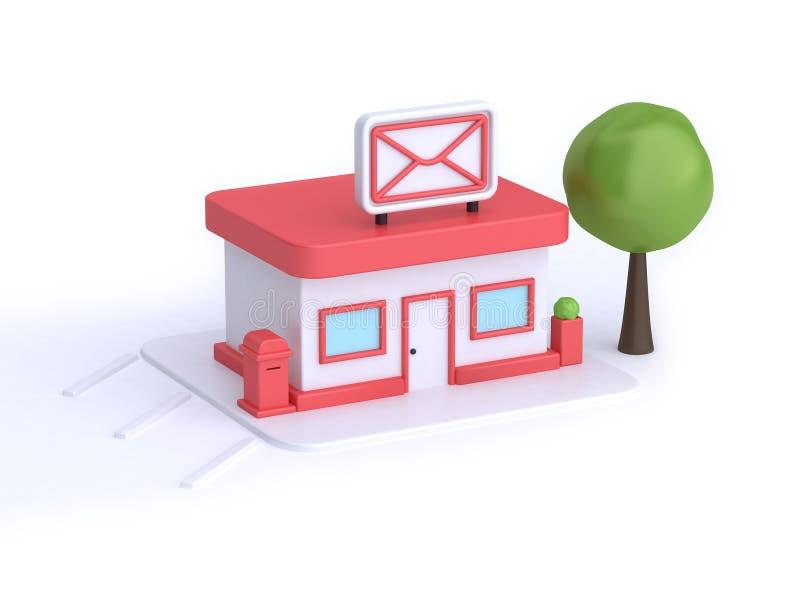 Ταχυδρομείου οικοδόμησης κινούμενων σχεδίων τρισδιάστατη απόδοση υποβάθρου ύφους άσπρη, μετα έννοια μεταφορών επικοινωνίας διανυσματική απεικόνιση