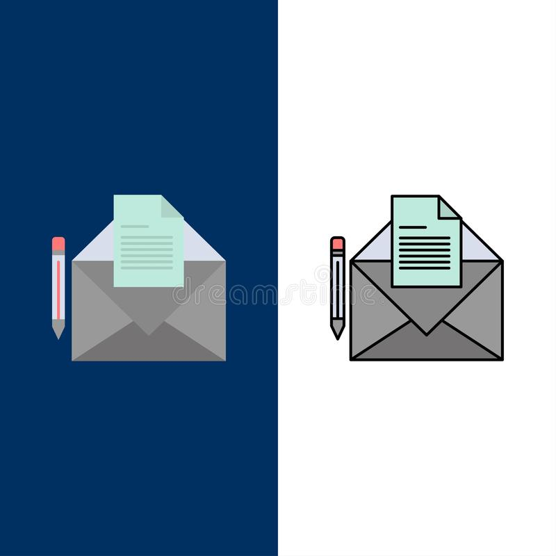 Ταχυδρομείο, μήνυμα, fax, εικονίδια επιστολών Επίπεδος και γραμμή γέμισε το καθορισμένο διανυσματικό μπλε υπόβαθρο εικονιδίων ελεύθερη απεικόνιση δικαιώματος