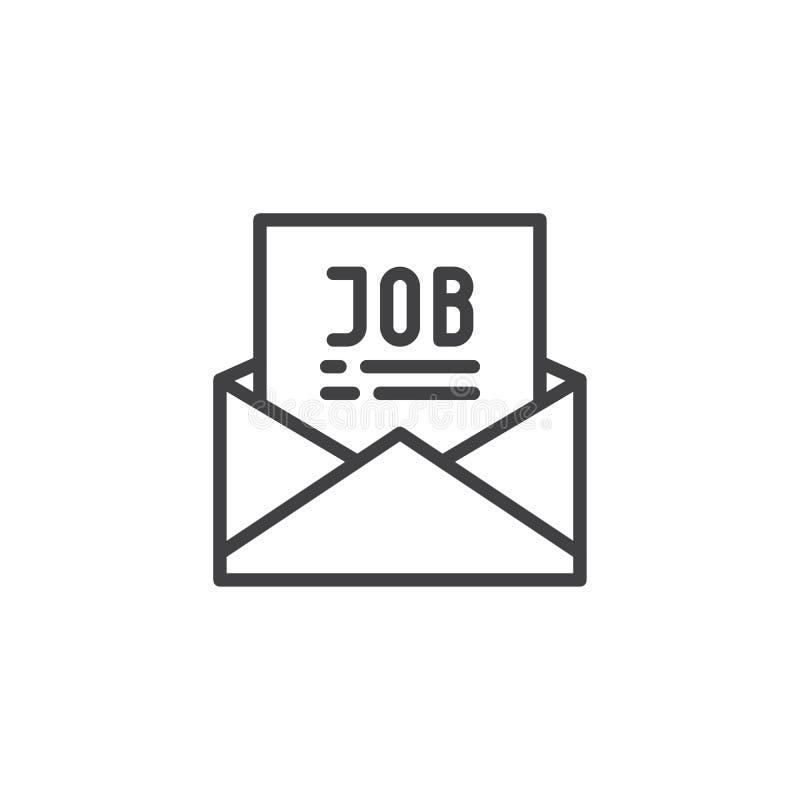 Ταχυδρομείο με το εικονίδιο περιλήψεων προσφοράς εργασίας απεικόνιση αποθεμάτων