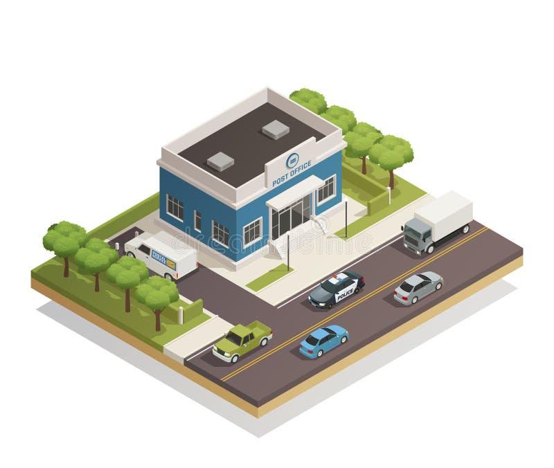 Ταχυδρομείο που χτίζει υπαίθριος Isometric ελεύθερη απεικόνιση δικαιώματος