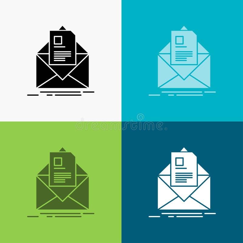 ταχυδρομείο, σύμβαση, γράμμα, ηλεκτρονικό ταχυδρομείο, εικονίδιο ενημέρωσης πέρα από το διάφορο υπόβαθρο glyph σχέδιο ύφους, που  διανυσματική απεικόνιση