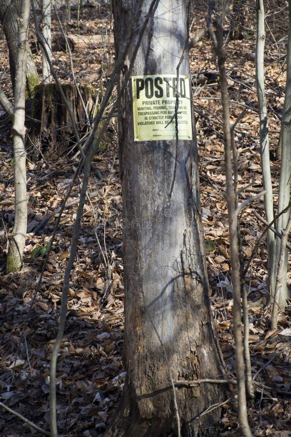 Ταχυδρομημένο σημάδι στο δέντρο στοκ φωτογραφία με δικαίωμα ελεύθερης χρήσης