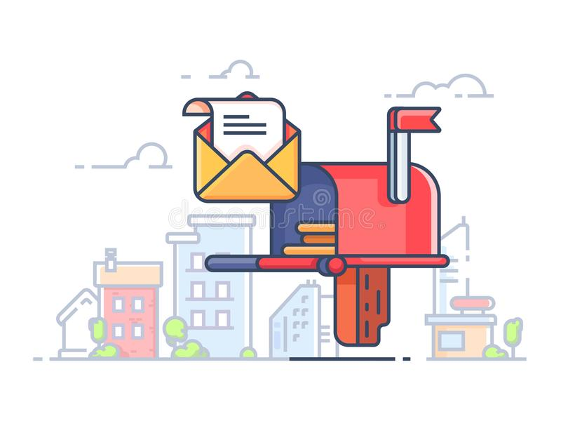 Ταχυδρομική θυρίδα για τις επιστολές και την αλληλογραφία απεικόνιση αποθεμάτων