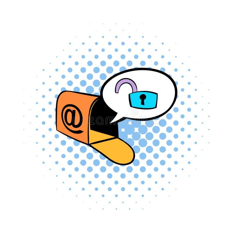 Ταχυδρομική θυρίδα με το εικονίδιο λουκέτων, ύφος comics ελεύθερη απεικόνιση δικαιώματος