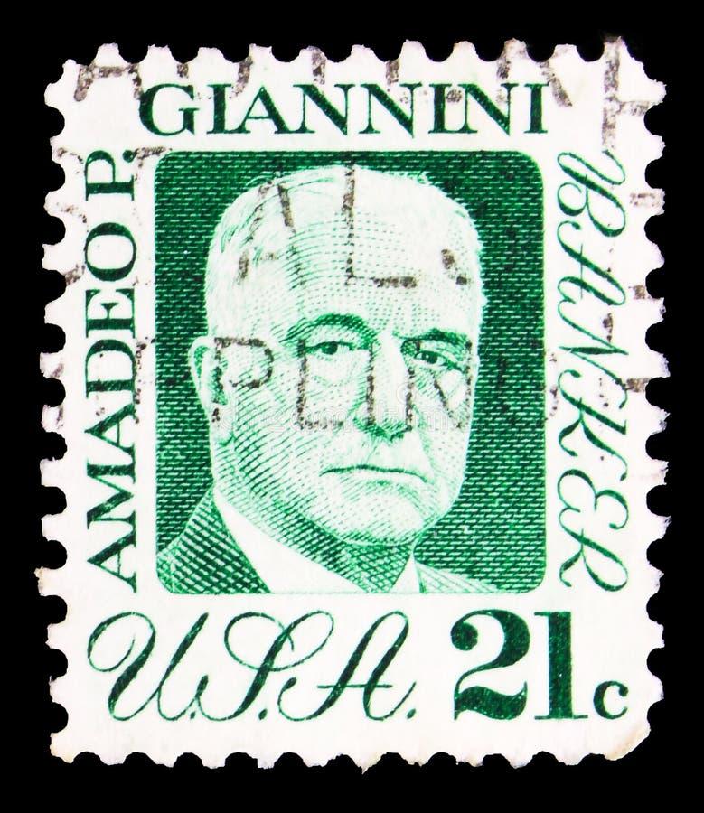 Ταχυδρομική σφραγίδα τυπωμένη στις ΗΠΑ δείχνει Amadeo P Giannini, 21 c - Λεπτά/σεντ Ηνωμένων Πολιτειών, 1970-1974 Regular, περίπο στοκ φωτογραφία με δικαίωμα ελεύθερης χρήσης
