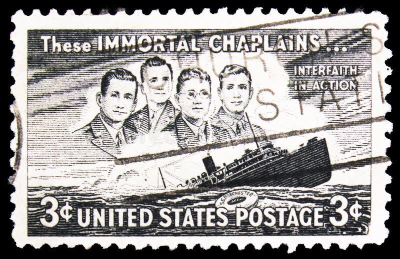 Ταχυδρομική σφραγίδα τυπωμένη στις Η.Π.Α. S Ντόρτσεστερ, 3 c - λεπτά/σεντ Η.Π.Α., σειρά, περίπου 1948 στοκ εικόνα