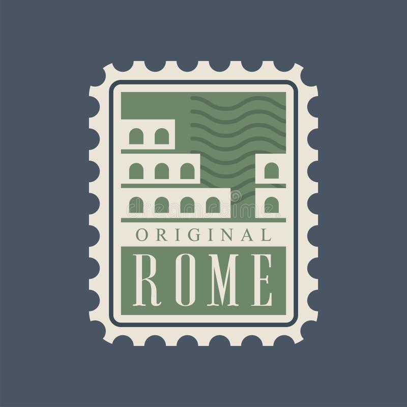 Ταχυδρομικό γραμματόσημο πόλεων της Ρώμης με την αφηρημένη σκιαγραφία Colosseum Κύριο μνημείο της Ιταλίας Διάσημο αρχιτεκτονικό ο απεικόνιση αποθεμάτων