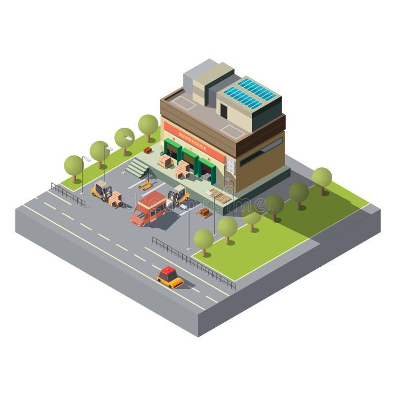 Ταχυδρομικό isometric διανυσματικό εικονίδιο αποθηκών εμπορευμάτων επιχείρησης διανυσματική απεικόνιση