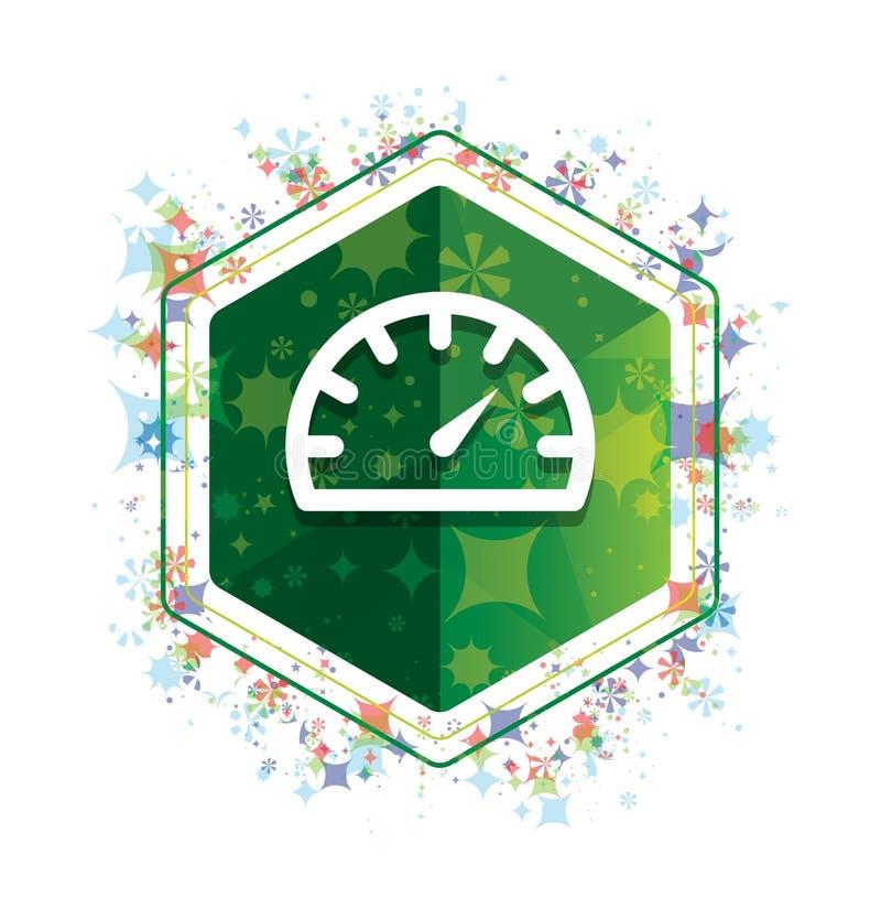 Ταχυμέτρων μετρητών πράσινο hexagon κουμπί σχεδίων εγκαταστάσεων εικονιδίων floral ελεύθερη απεικόνιση δικαιώματος
