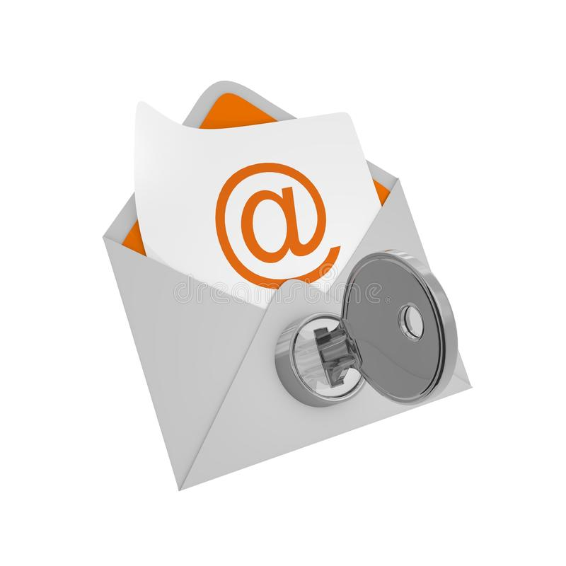 Ταχυδρομείο φακέλων με το κλειδί - έννοια ασφάλειας διανυσματική απεικόνιση