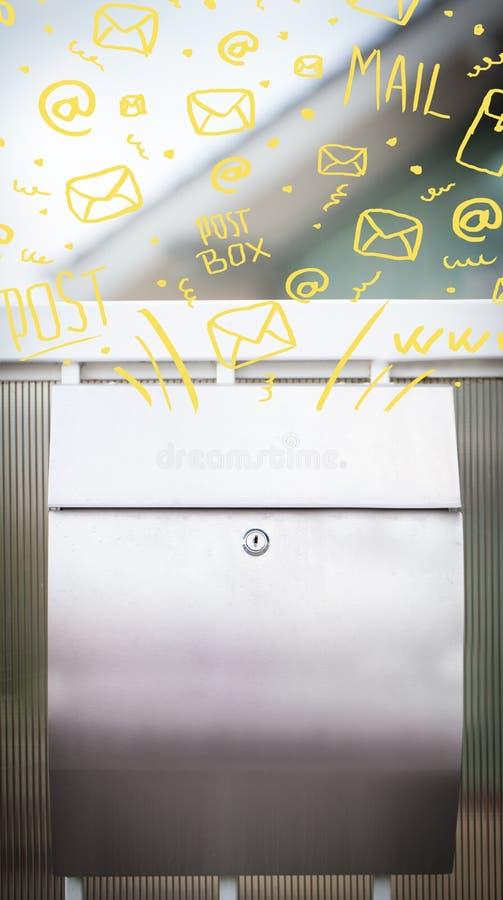 Ταχυδρομικό κουτί με τα άσπρα συρμένα χέρι εικονίδια ταχυδρομείου διανυσματική απεικόνιση