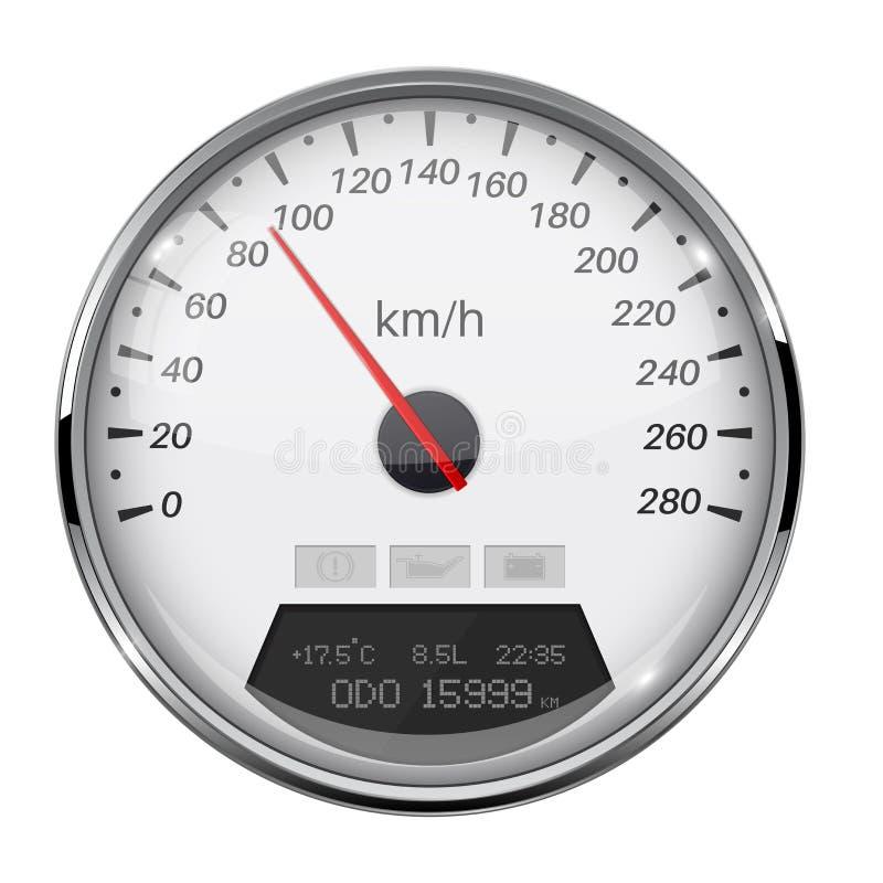 Ταχύμετρο Άσπρος μετρητής ταχύτητας με το πλαίσιο μετάλλων 90 χλμ ανά ώρα απεικόνιση αποθεμάτων