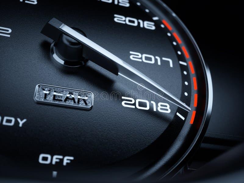 ταχύμετρο αυτοκινήτων έτους του 2018 ελεύθερη απεικόνιση δικαιώματος
