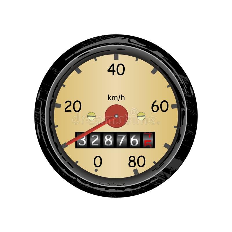 Ταχύμετρο αυτοκινήτων με την κλίμακα ταχύτητας και μετρητής χιλιομέτρου r διανυσματική απεικόνιση