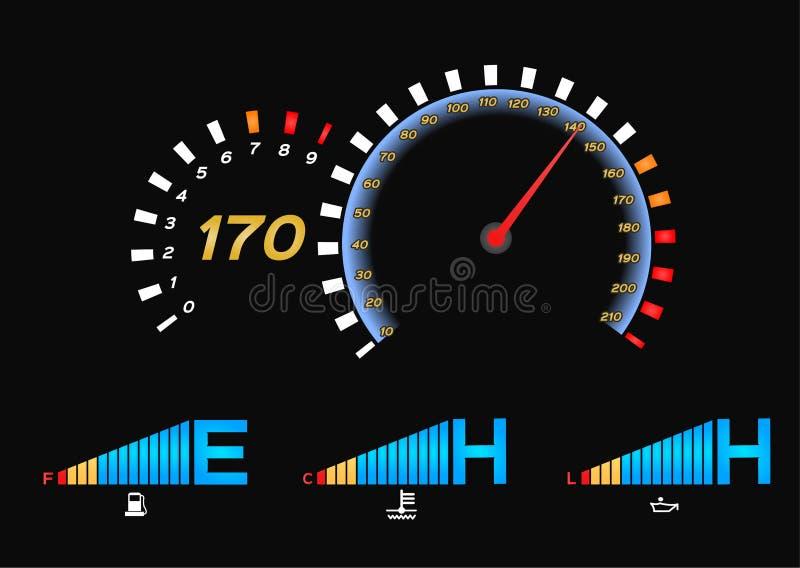 Ταχύμετρο για το αυτοκίνητο Διάνυσμα μετρητών και ταχυμέτρων καυσίμων απεικόνιση αποθεμάτων
