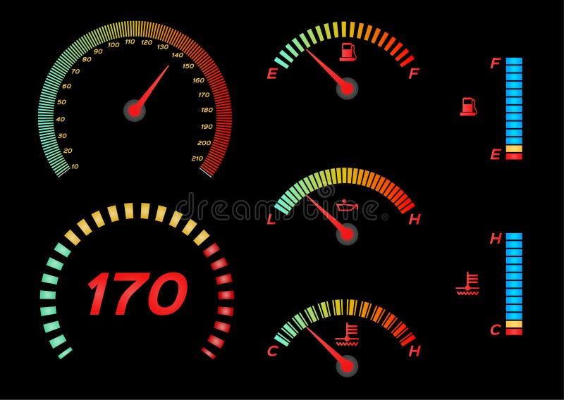 Ταχύμετρο για το αυτοκίνητο Διάνυσμα μετρητών και ταχυμέτρων καυσίμων ελεύθερη απεικόνιση δικαιώματος