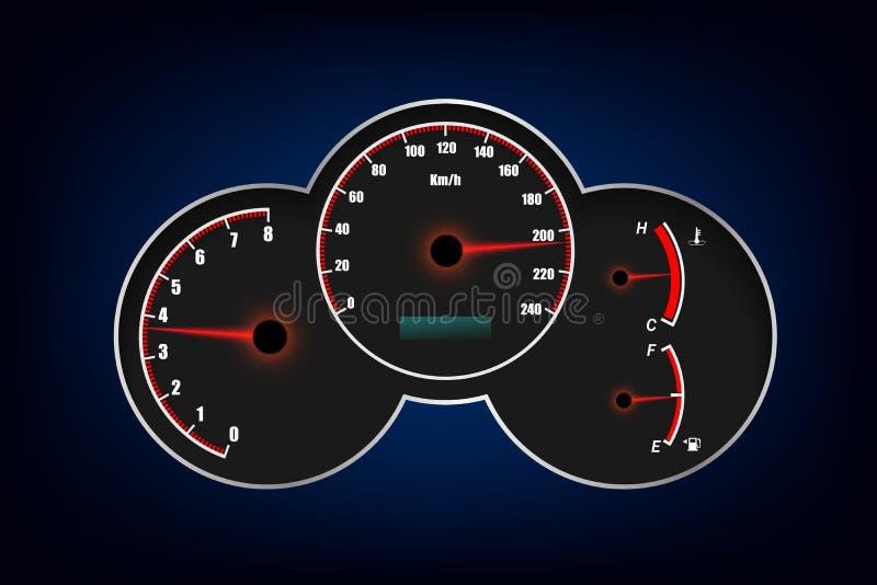 Ταχύμετρο, ταχύμετρο, καύσιμα και μετρητής θερμοκρασίας o διανυσματική απεικόνιση