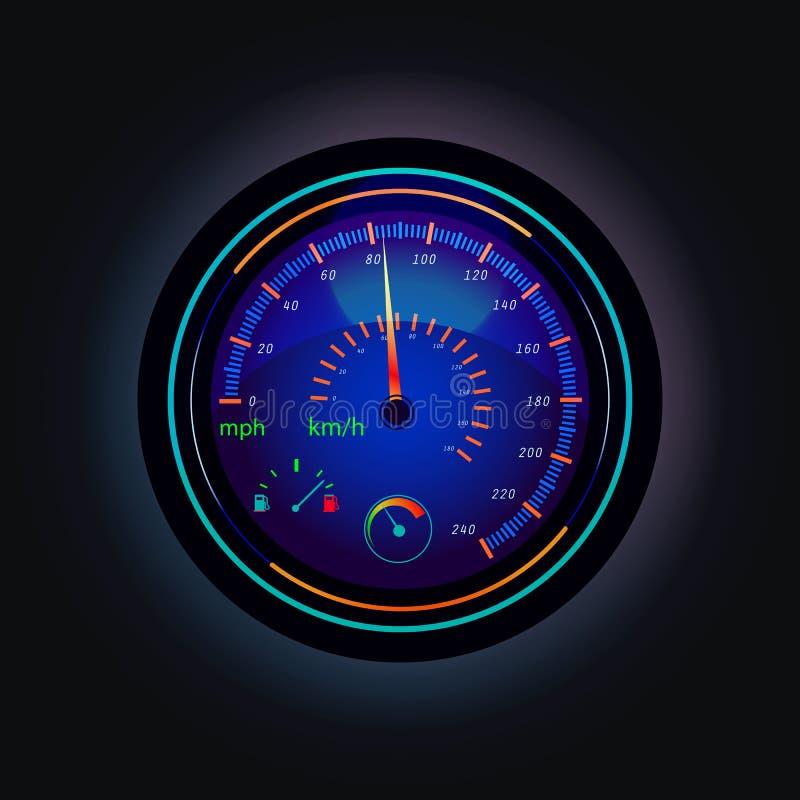 Ταχύμετρο που που παρουσιάζει ταχύτητα του αυτοκινήτου και των καυσίμων διανυσματική απεικόνιση