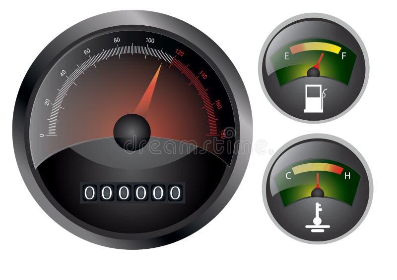 ταχύμετρο ταμπλό διανυσματική απεικόνιση